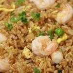 SHRIMP FRIED RICE -  SHRIMP, PEAS, GREEN ONIONS, AND EGGS